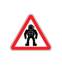 Astronaut warning sign red cosmonaut hazard vector