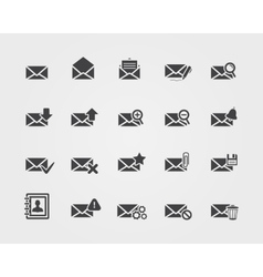 Flat email icons set vector