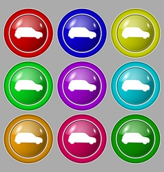 Jeep icon sign symbol on nine round colourful vector