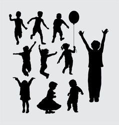 Kid playing silhouettes vector image