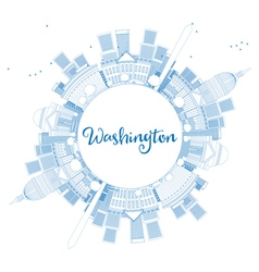 Outline washington dc skyline vector