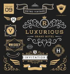 Set of retro vintage graphic design elements vector