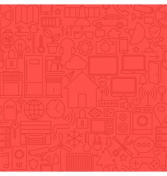Thin home technology seamless red pattern vector