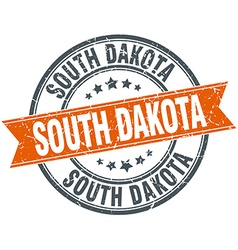 South dakota red round grunge vintage ribbon stamp vector