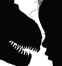 Child with dinosaur face adorable silhouette vector