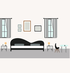 Bedroom interiors with furniture in modern style vector
