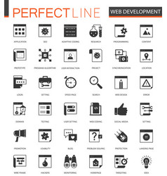 Black classic seo and development icons set vector