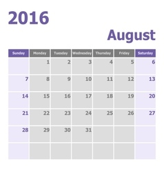 Calendar August 2016 week starts from Sunday vector image vector image