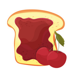 cherry jam on toast with jelly in cartoon style vector image