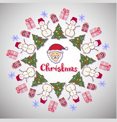Christmas decoration cute santa claus tree and vector