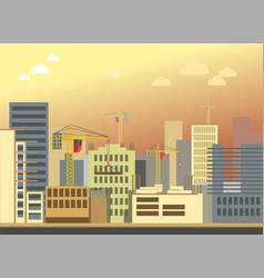City construction building landscape flat vector
