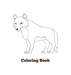 Coloring book forest animal wolf cartoon vector image vector image