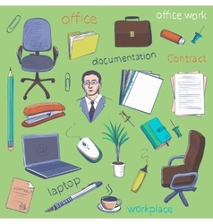 Concept of creative office room interior workspace vector