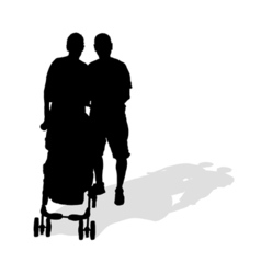 couple with sroller silhouette vector image