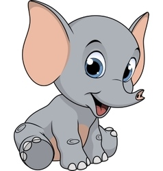 Cute funny baby elephant vector image vector image
