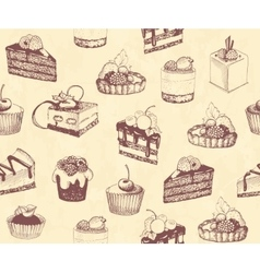 Dirty seamless background with sketches of cakes vector image vector image