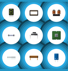 Flat icon technology set of mainframe display vector