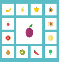 Flat icons orange pawpaw hot pepper and other vector