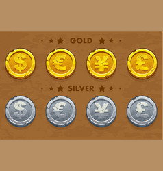 gold and silver old dollar euro pound and yen vector image