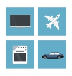 Icon set over frames technology and internet vector