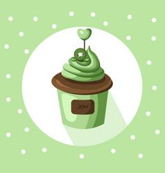 kiwi cupcake muffin dessert vector image vector image