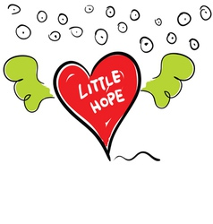 Little hope in heart cartoon vector