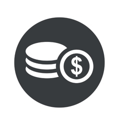 Monochrome round dollar rouleau icon vector