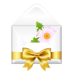 Open envelope with golden bow and flower vector