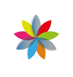 Rainbow abstract flower template logo spa or vector
