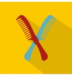 Red and blue combs icon flat style vector