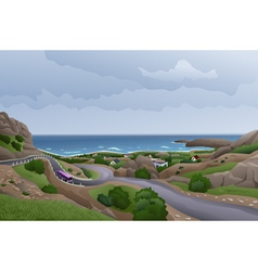 Road in the rocks near the sea vector image