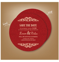 Round red save the date card vector