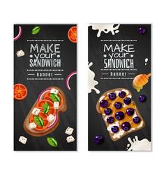 Sandwiches vertical banners vector