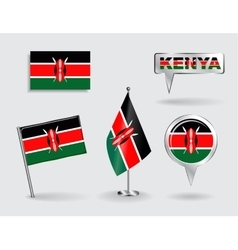 Set of Kenyan pin icon and map pointer flags vector image