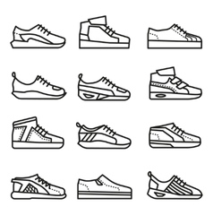 Sneakers running shoes thin line icons set vector