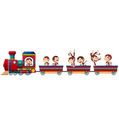 Train and monkeys vector image vector image