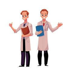 two doctors in medical coats holding folder and vector image vector image