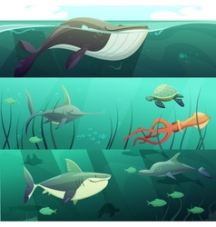 Underwater life retro cartoon banners set vector