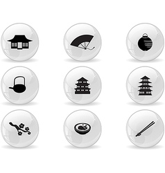 Web buttons japan icons vector image vector image
