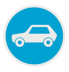 white car icon flat style vector image vector image