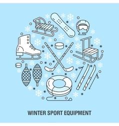 Winter sports banner equipment rent at ski resort vector
