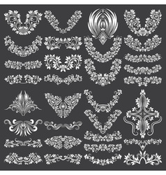 Big set of ornamental elements for design White vector image