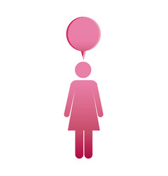Pictogram pink female with bubble dialog box vector