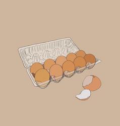Egg box with fresh chicken eggs egg vector