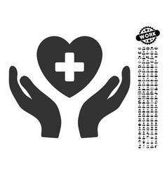 Cardiology care hands icon with professional bonus vector