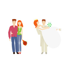 Flat young couple newlywed couple set vector