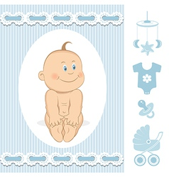 Cute baby boy vector image