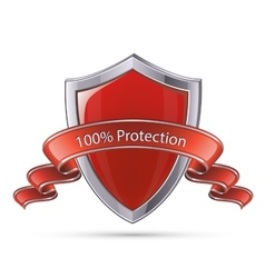 Shield symbol 100 percent protection vector