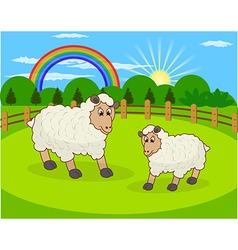 Cartoon sheep and rural meadow with green gra vector