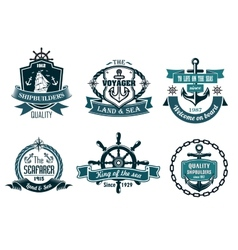 Blue nautical and sailing themed banners or icons vector